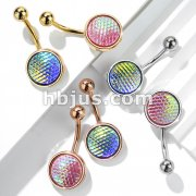 Holographic Dragon Scale Set 316L Surgical Steel Belly Button Navel Rings