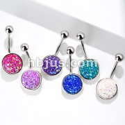 Druzy Stone Round Set 316L Surgical Steel Belly Button Navel Rings
