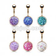 60 pcs Druzy Stone Set Rose Gold Plated316L Surgical Steel Belly Button Navel Rings Bulk Pack (10 pcs x 6 Colors)