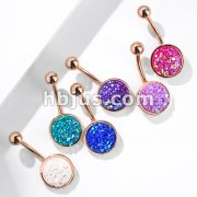 Druzy Stone Round Set PVD Rose Gold Over 316L Surgical Steel Belly Button Navel Rings