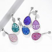 Druzy Stone Tear Drop Set PVD Rose Gold Over 316L Surgical Steel Belly Button Navel Rings