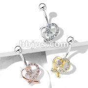 CZ Paved Hollow Heart with CZ Flower Center 316L Surgical Steel Belly Button Navel Rings