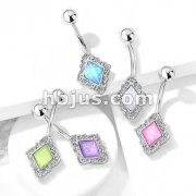 Diamond Shaped Filigree with Illuminating Stone Center 316L Surgical Steel Belly Button Navel Rings