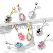 Crystal Paved Sunburst with Opal Glitter Center 316L Surgical Steel Belly Button Navel Rings