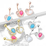 Crystal Paved Heart with Opal Glitter Half 316L Surgical Steel Belly Button Navel Rings