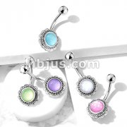 Filigree Flower with Illuminating Stone Center 316L Surgical Steel Belly Button Navel Rings