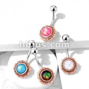 Rose Gold Filigree Flower with Opal Glitter Center 316L Surgical Steel Belly Button Navel Rings