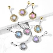 Illuminating Stone Center Crystal Paved Tribal Swirl 316L Surgical Steel Belly Button Navel Rings