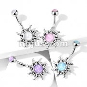 Tribal Sun Illuminating Stone Center with Illuminating Stone Set Top 316L Surgical Steel Belly Button Navel Rings