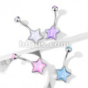Star Shaped Illuminating Stone with Illuminating Stone Set Top 316L Surgical Steel Belly Button Navel Rings