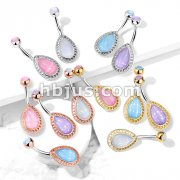 Illuminating Stone Tear Drop Shield with Illuminating Stone Set Top 316L Surgical Steel Belly Button Navel Rings