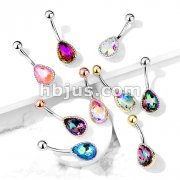 AB Effect Tear Drop Glass Stone in Encasing 316L Surgical Steel Belly Button Navel Rings