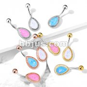 Opal Glitter Tear Drop Shield 316L Surgical Steel Belly Button Navel Rings