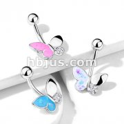 Butterfly with Opal Glitter Filled and Crystal Paved Wings 316L Surgical Steel Belly Button Navel Rings