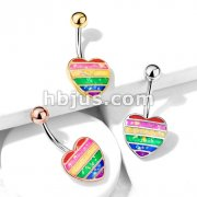 Rainbow Opal Glitter Filled Heart 316L Surgical Steel Belly Button Navel Rings
