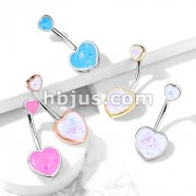 Double Opal Glitter Filled Heart 316L Surgical Steel Belly Button Navel Rings