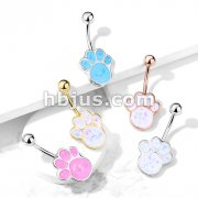 Opal Glitter Filled Puppy Paw 316L Surgical Steel Belly Button Navel Rings