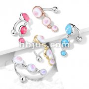 Triple Round Opal Glitter Set Vertical Drop 316L Surgical Steel Top Drop Belly Button Navel Rings