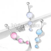 Triple Round Illuminating Stone Drop Dangle 316L Surgical Steel Belly Button Navel Rings