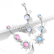 Tribal Sun with Illuminating Stone Center Dangle with Illuminating Stone Set Top 316L Surgical Steel Belly Button Navel Rings