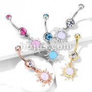 Tribal Sun with Opal Glitter Center Dangle Double Jeweled 316L Surgical Steel Belly Button Navel Rings