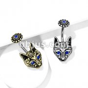 Blue Crystal Eyes Tribal Cat with Blue Crystal Center Flower Top 316L Surgical Steel Belly Button Navel Rings