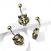Gold Tiger 316L Surgical Steel Belly Button Navel Rings