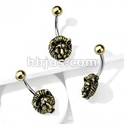 Gold Lion 316L Surgical Steel Belly Button Navel Rings