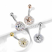 Star With Crystal Surroundings 316L Surgical Steel Belly Button Navel Ring