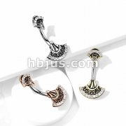 Double Jeweled Tribal Fan 316L Surgical Steel Belly Button Navel Ring