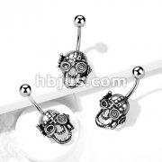Burnished Steampunk Skull 316L Surgical Steel Belly Button Ring