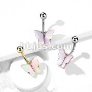 Shell Covered Butterfly 316L Surgical Steel Belly Button Ring