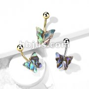 Abalone Shell Covered Butterfly 316L Surgical Steel Belly Button Ring