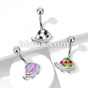 Enamel and CZ paved Turtle 316L Surgical Steel Belly Button Ring