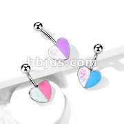 Opal Glitter and Enamel Heart 316L Surgical Steel Belly Button Ring