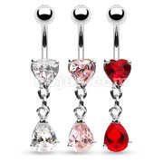 Assorted Heart Navel CZ Ring with Tear Drop CZ Dangle Dozen Pack