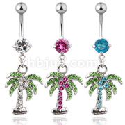 High Qualitay CZ Pave Gem Palm Tree w/ 14GA 316L Surgical Steel