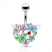 Multi Color Crystal Butterflys and Flowers on Heart 316L Surgical Steel Belly Rings