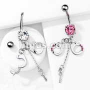 Dangling Gemed Handcuffs and Key 316L Prong Set Navel