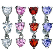 Triple Heart CZ Vertical Drop 316L Surgical Steel Reverse Belly Rings