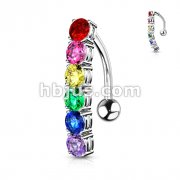 Rainbow CZ Top Drop 316L Surgical Steel Belly Button Navel Ring