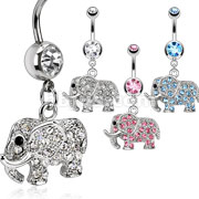 316L Surgical Steel Multi Paved CZs Elephant Dangle Navel Ring