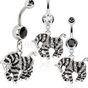 316L Surgical Steel Black Enamel Striped Zebra Dangle Navel Ring