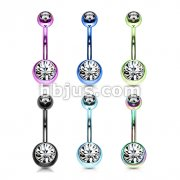 120 Pcs Titanium IP Over 316L Stainless Steel with 2-Gems Navel Ring Pack ( 20pcs x 6 colors )