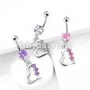 Heart with 3 Gem Flowers Fancy Navel Ring w/ Titanium Shaft/Rhodium Plating