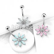 Flower Fancy Navel Ring w/ Titanium Shaft/Rhodium Plating
