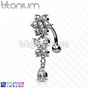 Flower CZ w/ Leaves CZ Top Down Fancy Navel Ring w/ Titanium Shaft/Rhodium Plating