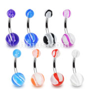 160 Pcs316L Surgical Steel Belly rings with Assorted Colored Acrylic Marble Ball Bulk Packs(20pcs x 8 colors)