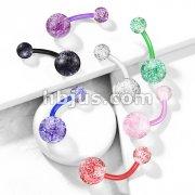 Ultra Glitter Acrylic Balls BioFlex Navel Ring