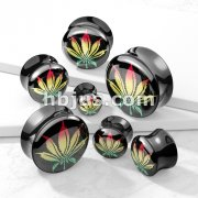 Rasta Pot Leaf Picture Inlayed Black Acrylic  Saddle Plug